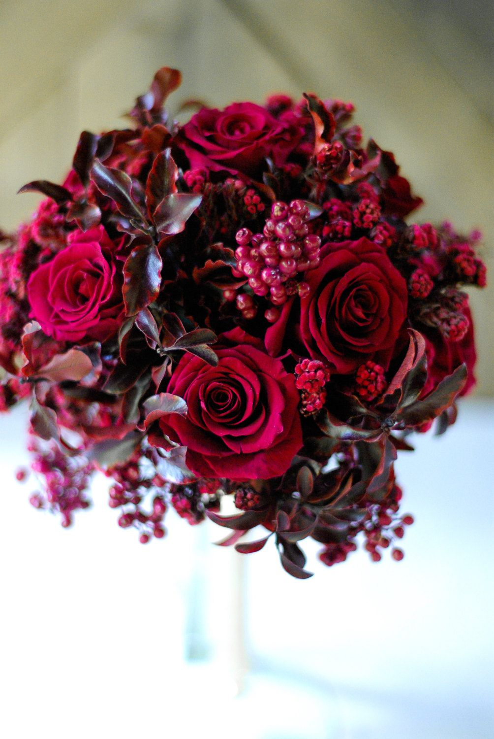Red Garden Rose Bouquet burgandy, marsala, deep red preserved rose bouquet with gold