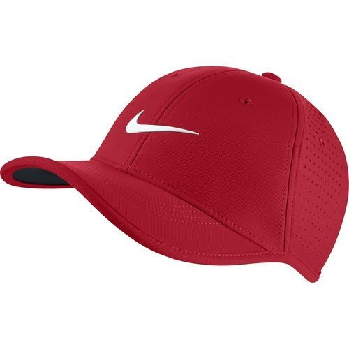 3c87bbae088 Nike Golf Junior Ultralight Perforated Adjustable Hat - University Red White
