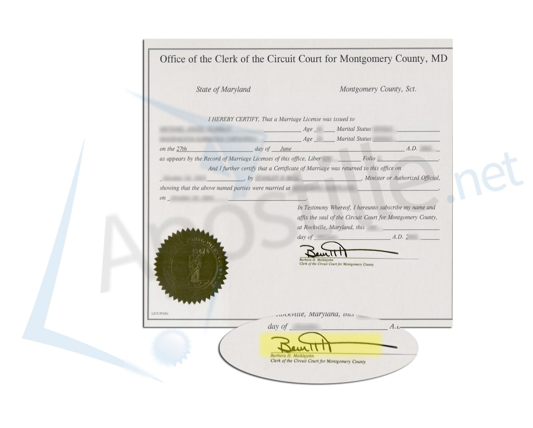 County Of Montgomery State Of Maryland Certificate Of Marriage