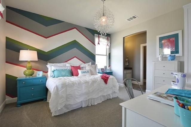25 Bedrooms With Striped Walls Show Off This Versatile Look: Zigzag Stripes in a Child's Bedroom