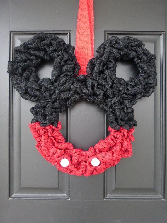 disney inspired mickey mouse burlap door wreath - Mickey Mouse Christmas Wreath