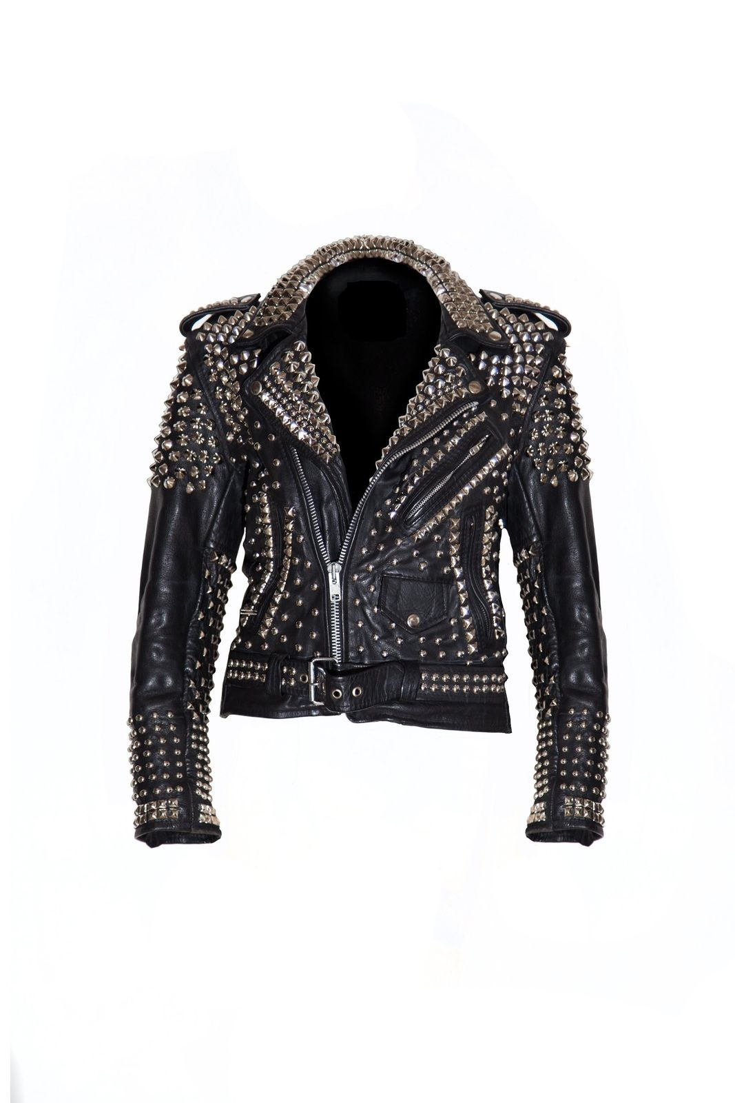 New Woman Black Punk Full Silver Studded Cowhide Leather Jacket All Sizes Coats Jackets Studded Leather Jacket Leather Jacket Leather Jacket Style