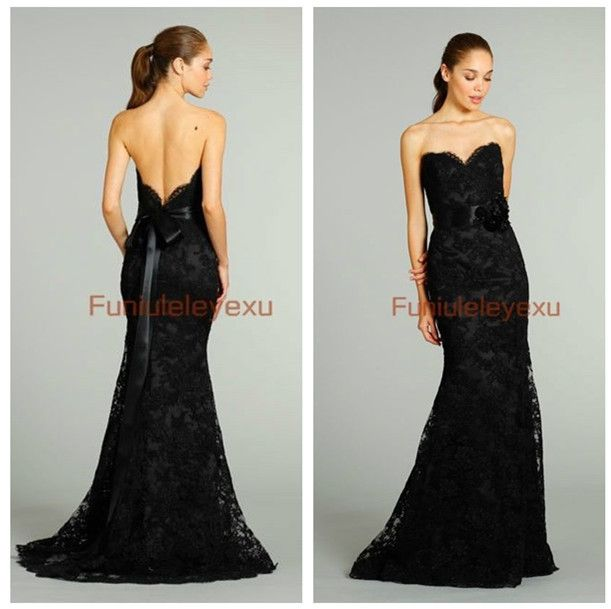 Free Shipping Sexy Backless Sleeveless Black Lace Dress Floor ...