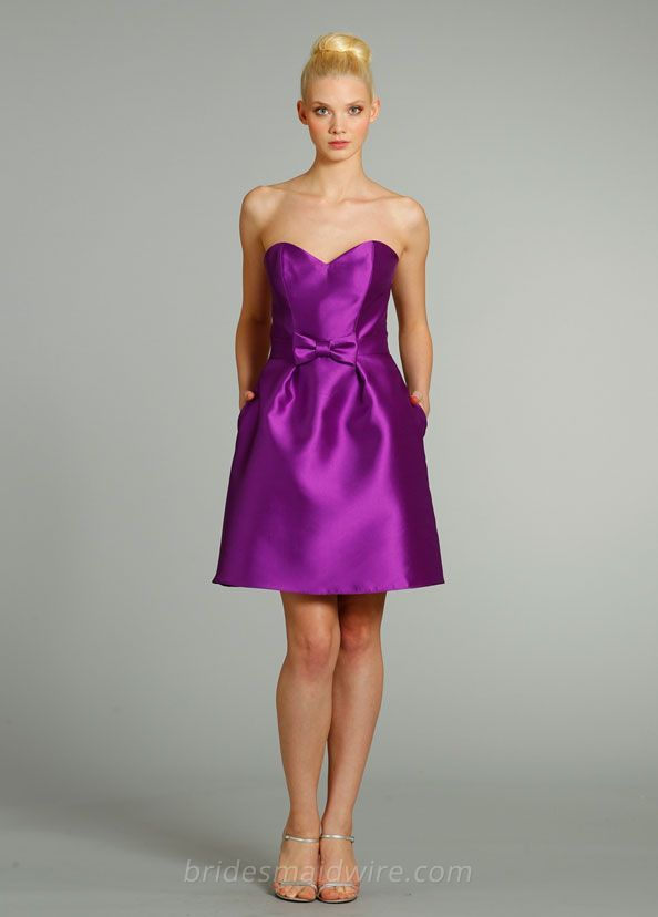 purple satin a-line knee length bridesmaid dress with strapless ...