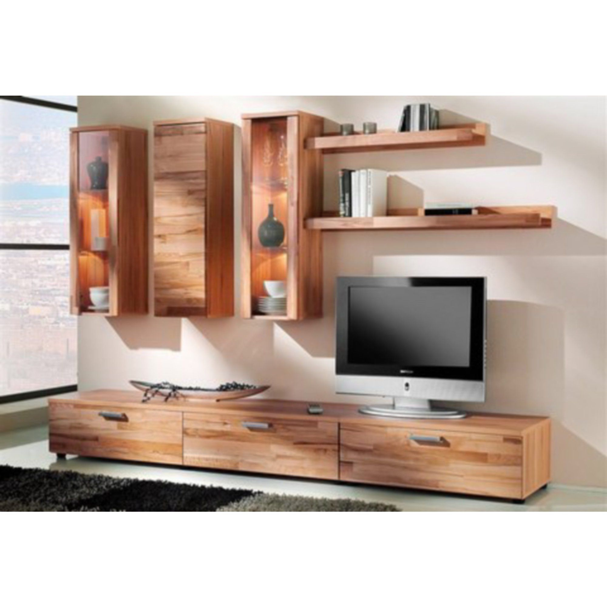 ensemble de salon audio vid o 3 meubles suspendus 2 tag res murales 2 meubles bas tv. Black Bedroom Furniture Sets. Home Design Ideas