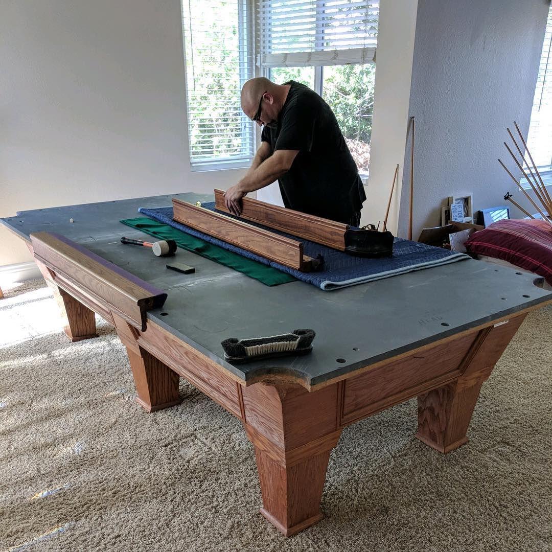 9 Foot Six Legged Pool Table Anaheim Hills Family Got The Table From A Neighbor Setup In Process Refelting With New Dark Mesa De Bilhar Bilhar Mesa De Sinuca