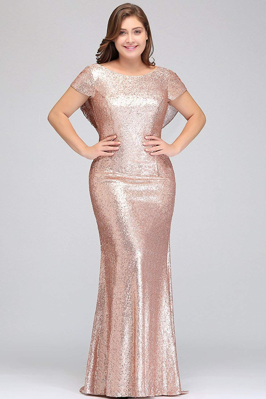 Misshow women plus size rose gold long sequin bridesmaid dress prom