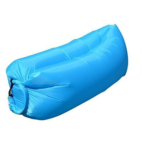 Lazyleis Outdoor Portable Fast Inflatable Air Bag Sofa Camping Bed Hangout  Bean Bag Sleeping Lazy Lounger Blue ** Read More At The Image Link.