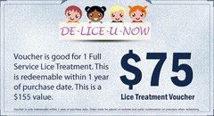 Full Service Lice Treatment Voucher #headlicetreatment Our full service pre-paid lice treatment consists of pre-sale for one secret weapon lice treatment in case child/adult gets head lice in a calendar year. Specifications: Redeemable within 1 year... #headlicetreatment Full Service Lice Treatment Voucher #headlicetreatment Our full service pre-paid lice treatment consists of pre-sale for one secret weapon lice treatment in case child/adult gets head lice in a calendar year. Specifications: Red #headlicetreatment