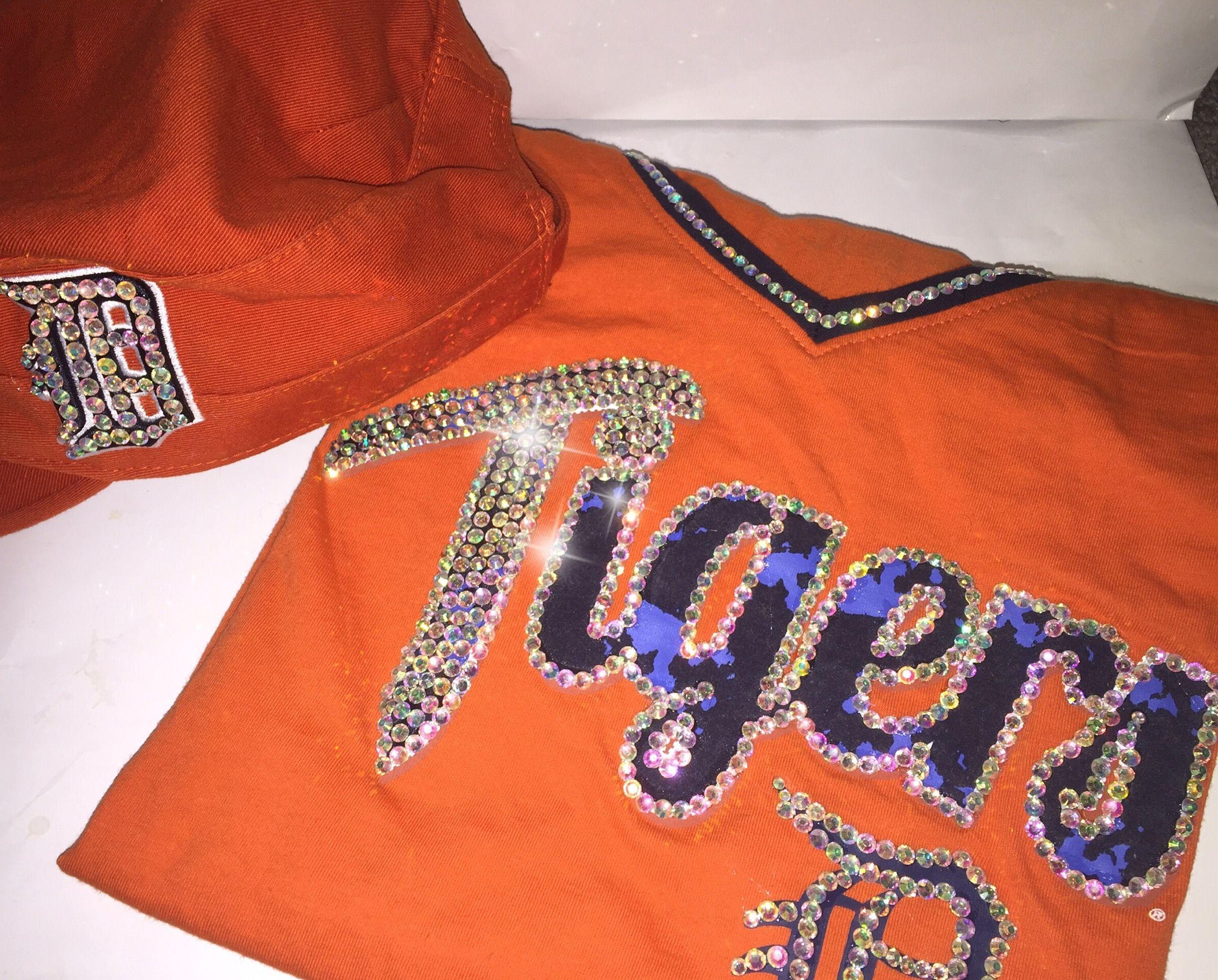Detroit Tigers Custom Bling Tshirt Hat Custom Bling Bling Design Shirts [ 1915 x 2379 Pixel ]