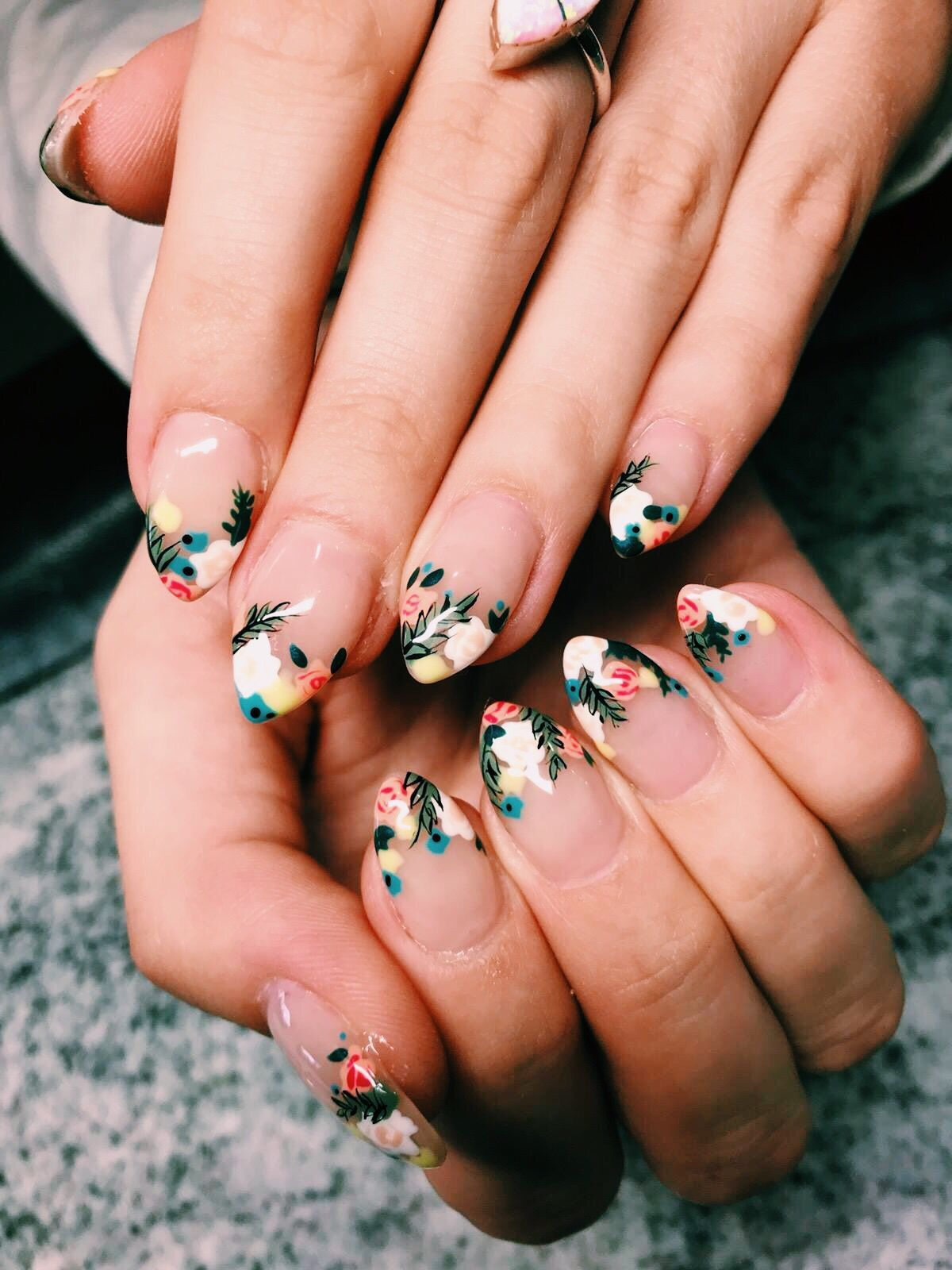Detailed, layered, flower, acrylic, nails in 2020 Spring