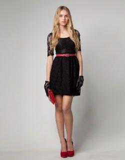 vestido negro encaje blonda cinturon rojo  90ba1f0ccb6c