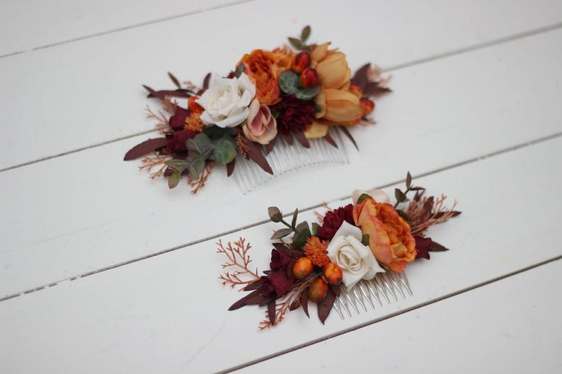 Orange Ivory Rust Floral Comb Floral Headpiece Bridal Flower Etsy In 2020 Bridal Flower Clips Floral Comb Bridal Floral Crown