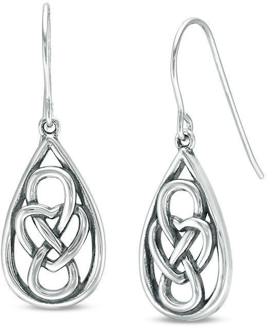 Zales Mesh Knot Drop Earrings in Sterling Silver aPRBuBX29e