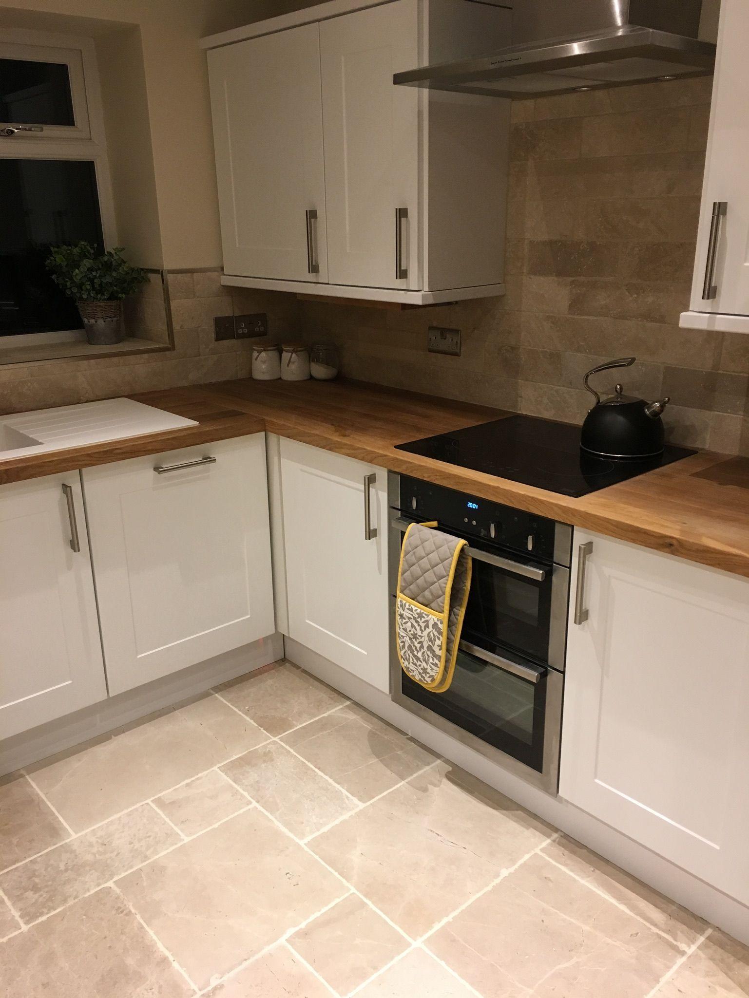 White Kitchen Units Oak Worktop