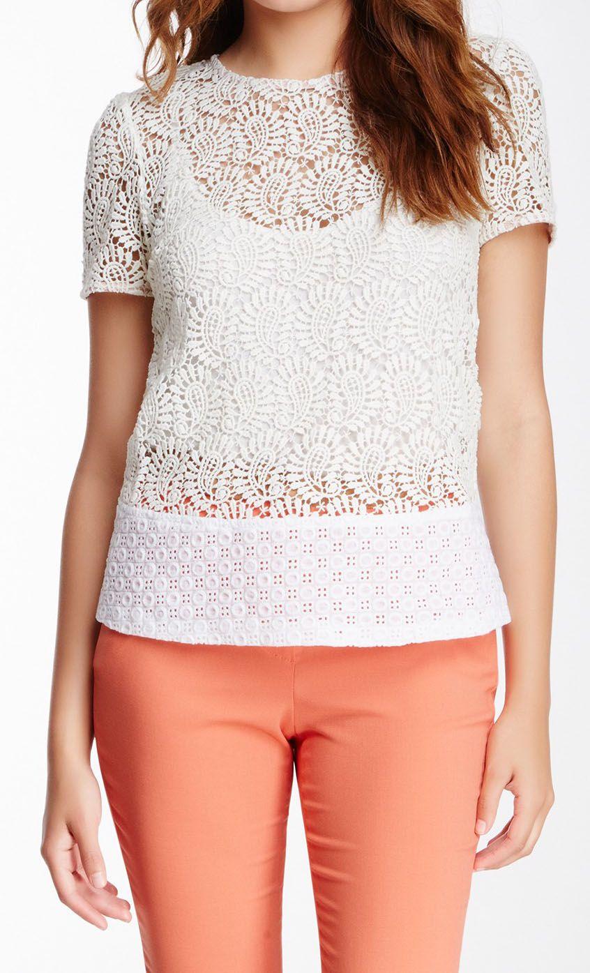 Champagne & Strawberry Crochet Knit Blouse