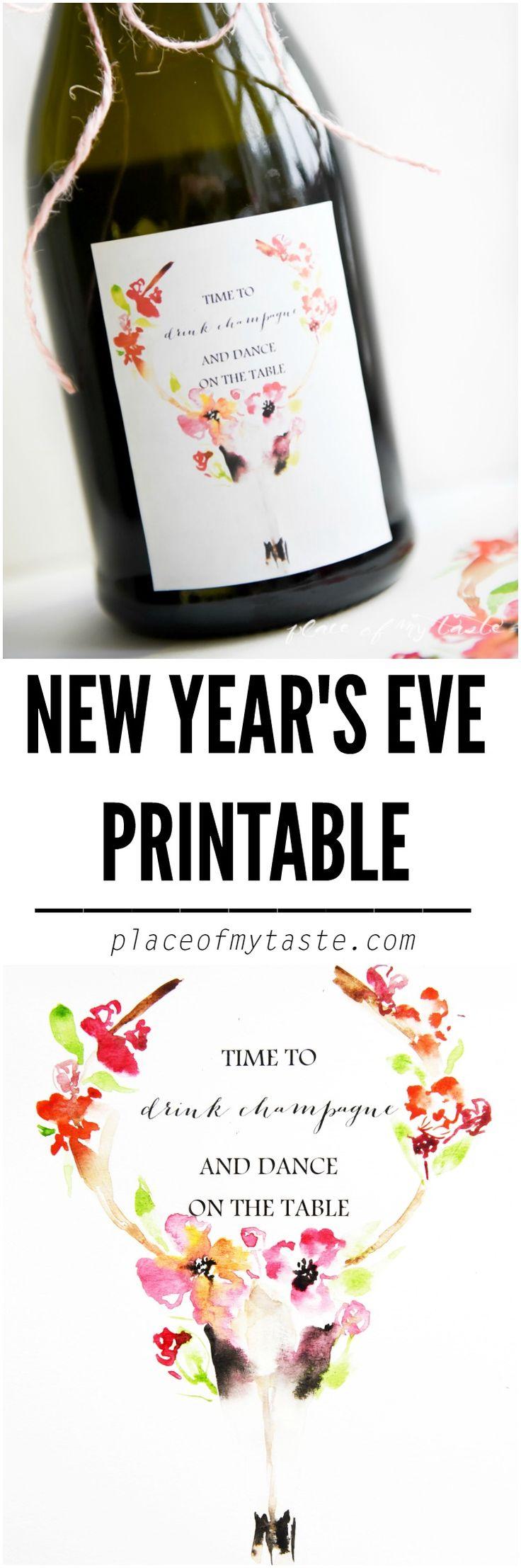 NEW YEAR'S EVE PRINTABLE . Very pretty FREE printable ...