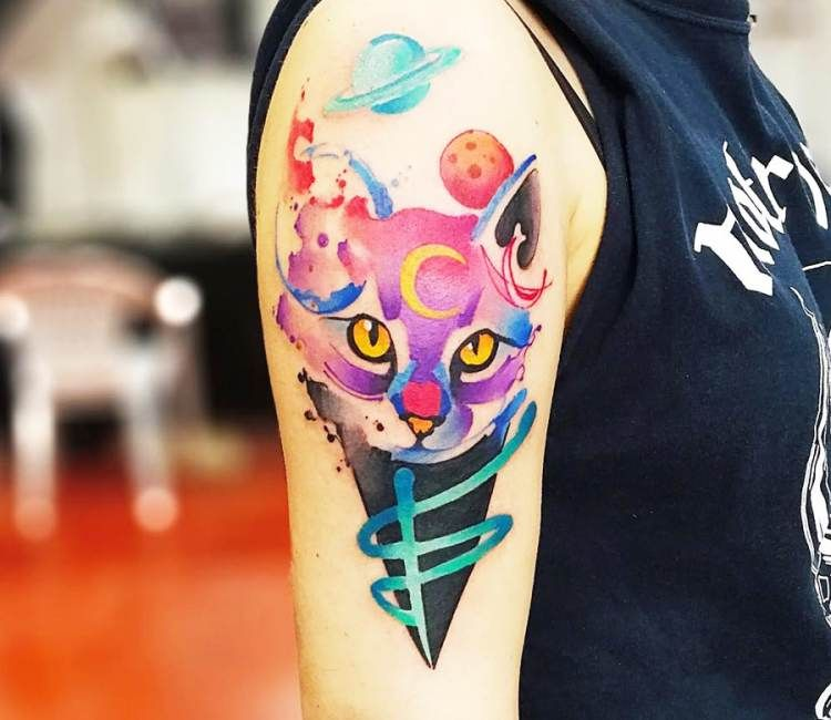 Space Cat tattoo by Marco Pepe | Tatuajes y Colibri