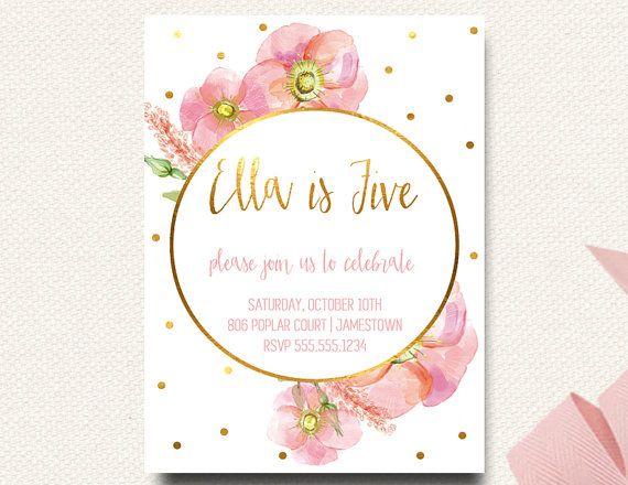 Boho Birthday Invitation Flower Pink Gold White Polka Dot Girls First Watercolor