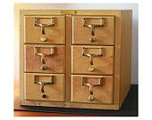 Vintage Wooden Library Card Catalog - Six Drawer