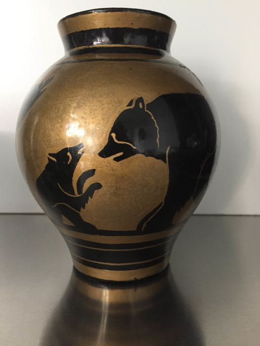 Charles Catteau For Boch Freres Art Deco Earthenware Ornamental