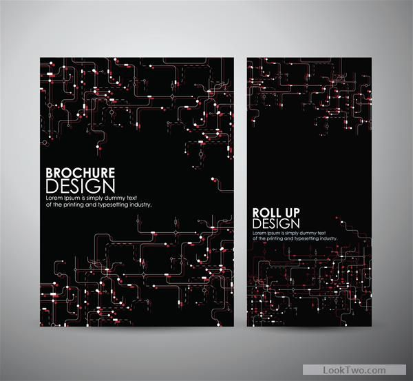 Free Tech style brochure cover template vector 03  vector download