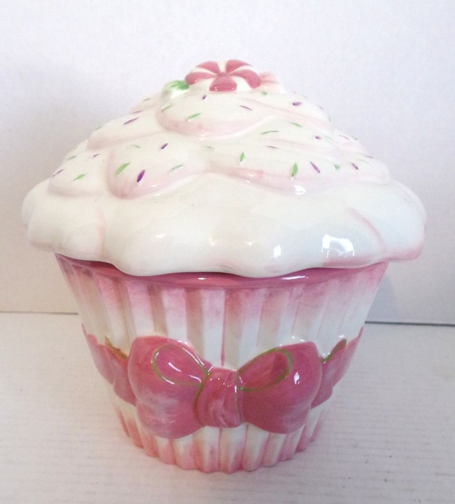 Cupcake Canisters For Kitchen: Details About Cupcake Cookie Jar Ceramic By Deb Malewski