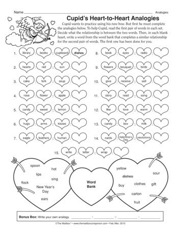 Heart To Heart Analogies Perfect For February And Valentine S Day A Freebie From Themailbox Analogy Cupid Days Worksheet Analogies worksheet 7th grade