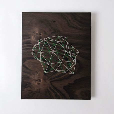 Geodesic Design Embroidered on Wood  by Significant Others