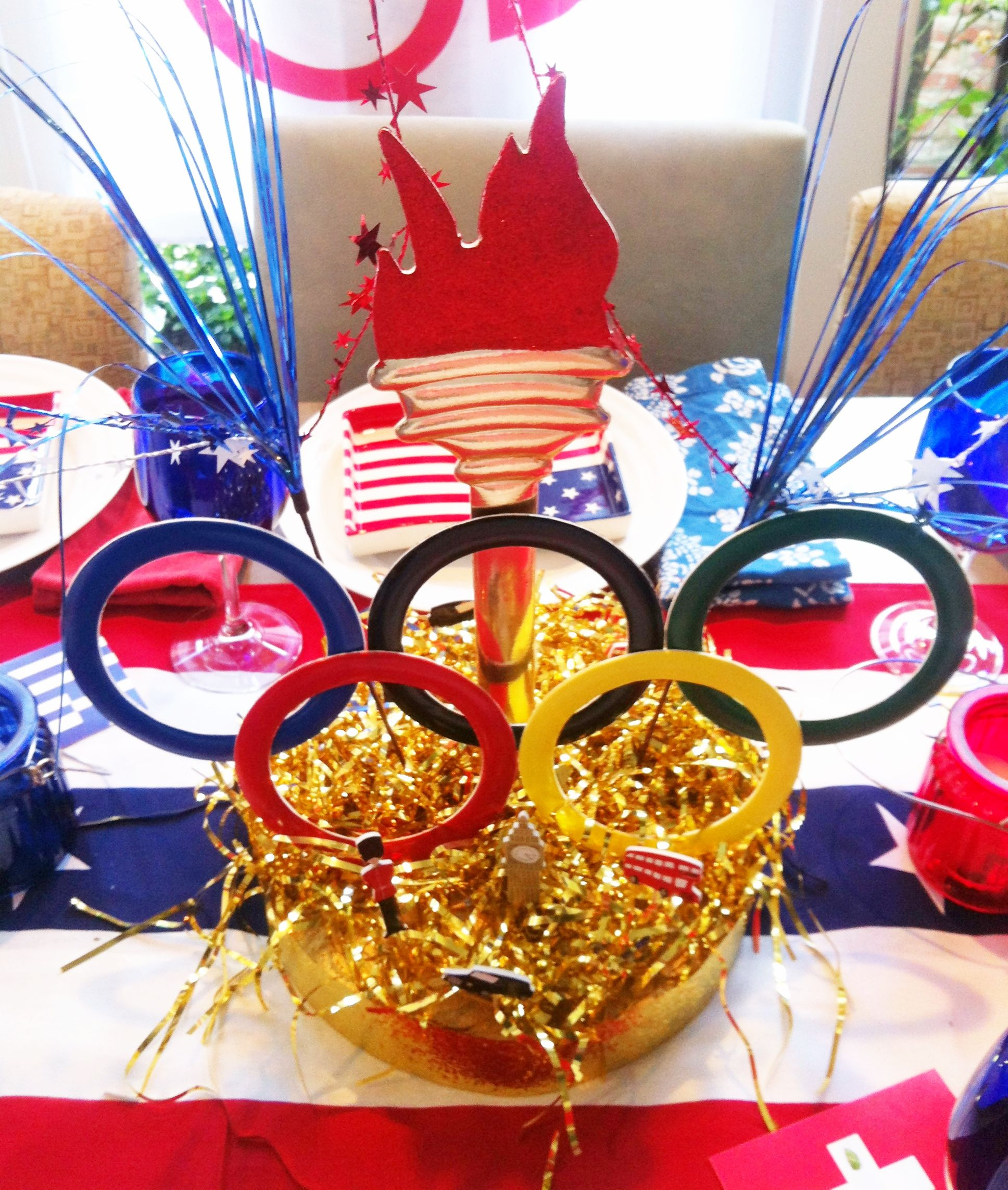 Olympic Ring Centerpiece | Olympic theme party, Olympics ...