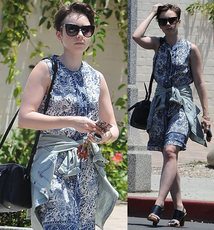 Lily Collins Embraces Summer in Floral Frock and Sol Sana Heels After Partying at LA Gay Pride Parade