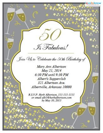 50th Birthday Invitations Wording Ideas Free Printable Birthday