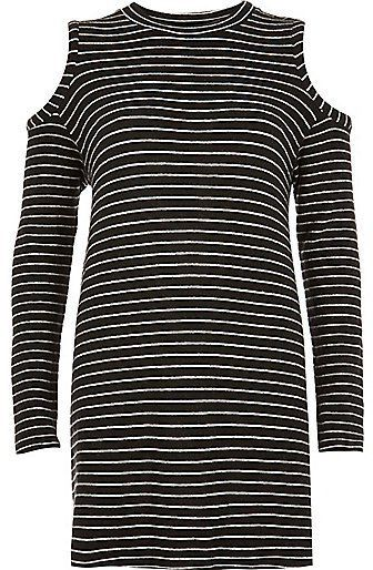 Pin for Later: The Sexy, Easy-to-Wear Top That's Becoming a Spring Staple  River Island Women's Black Stripe Cold Shoulder Top ($64)