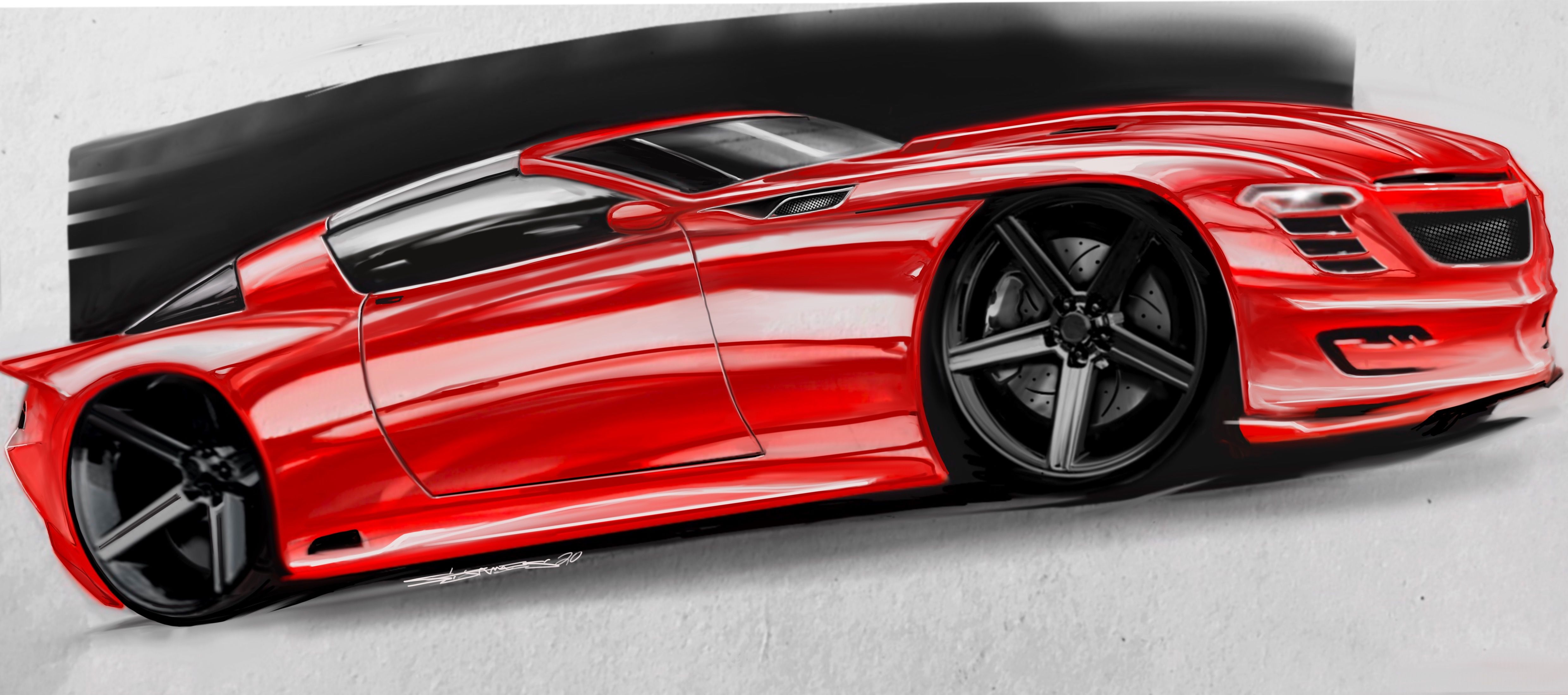 2019 car illustration concept art by automotive artist Sammy James #cardesign #cardesignsketch #cardesigndaily #automotivedesign #camaro #conceptcars #conceptdesign #carart