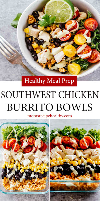Healthy Meal Prep Southwest Chicken Burrito Bowls Recipe {+video} #HEALTHY #MEALPREP #CHICKEN #healthydinnerrecipesvideos