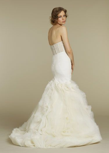 Love the crystallized sheer corset back of this silk organza fit & flare bridal gown