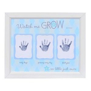 Watch Me Grow Handprint Frame In Blue 3999 Twin Products
