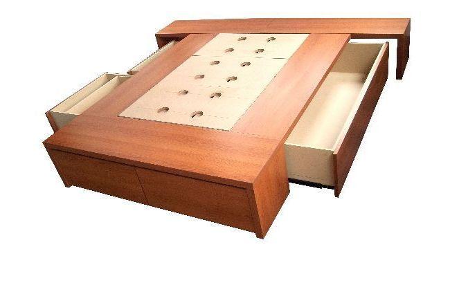 Cama con cajones base sommier para colchon opcional for Base cama individual con cajones