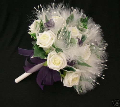 ARTIFICIAL WEDDING FLOWERS BRIDES POSY BOUQUET WITH IVORY ROSES MARABOU FEATHERS AND PURPLE RIBBON