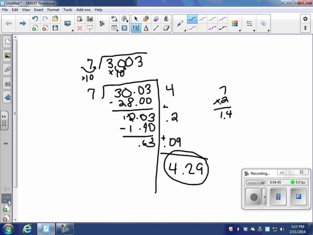 Dividing Decimals Using Partial Quotients