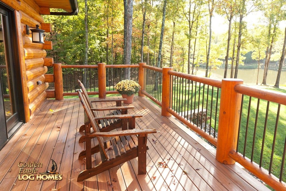 Log Home By Golden Eagle Log Homes   Metal Spindles Deck Exterior