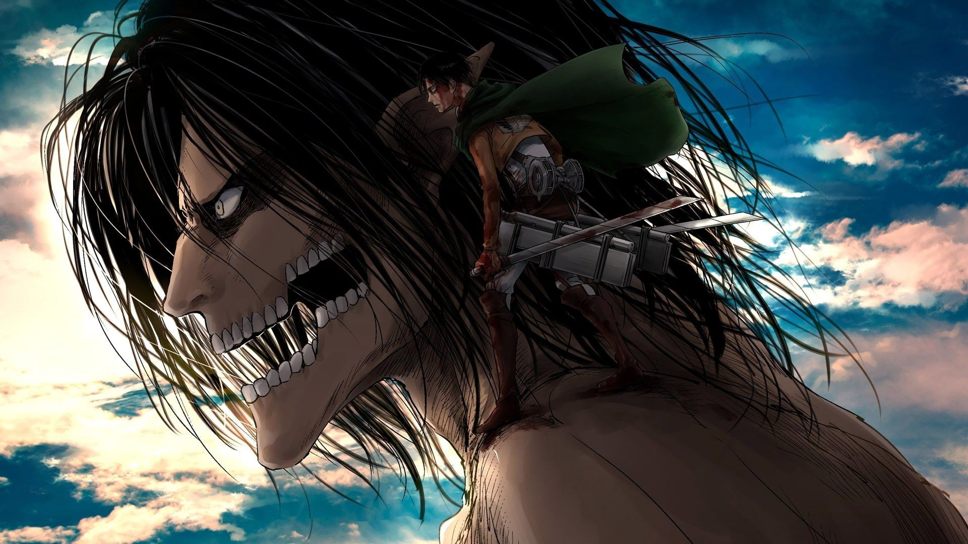 Anime Attack On Titan Eren Yeager Levi Ackerman 1080P