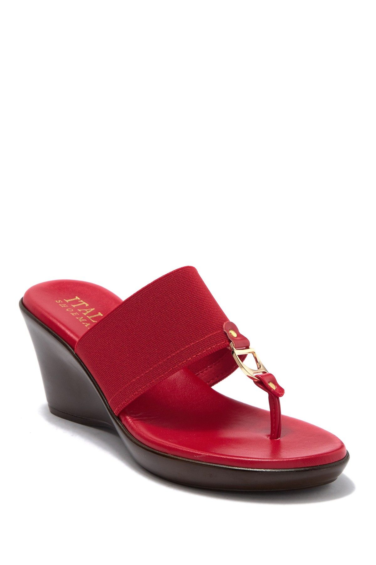 Italian Shoemakers | Cia Elasticized Metal Bit Wedge Sandal #nordstromrack