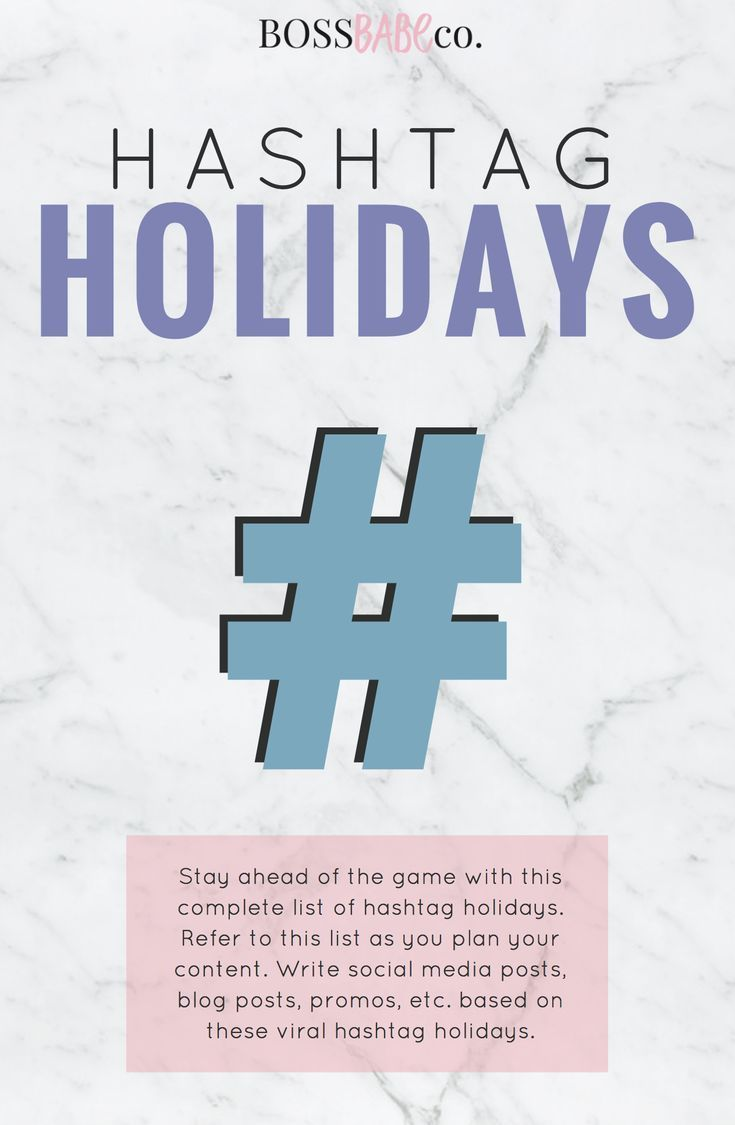 Stay ahead of the game with this complete list of 2018 hashtag holidays! Refer to this list as yo…   Social media. Instagram marketing tips ...