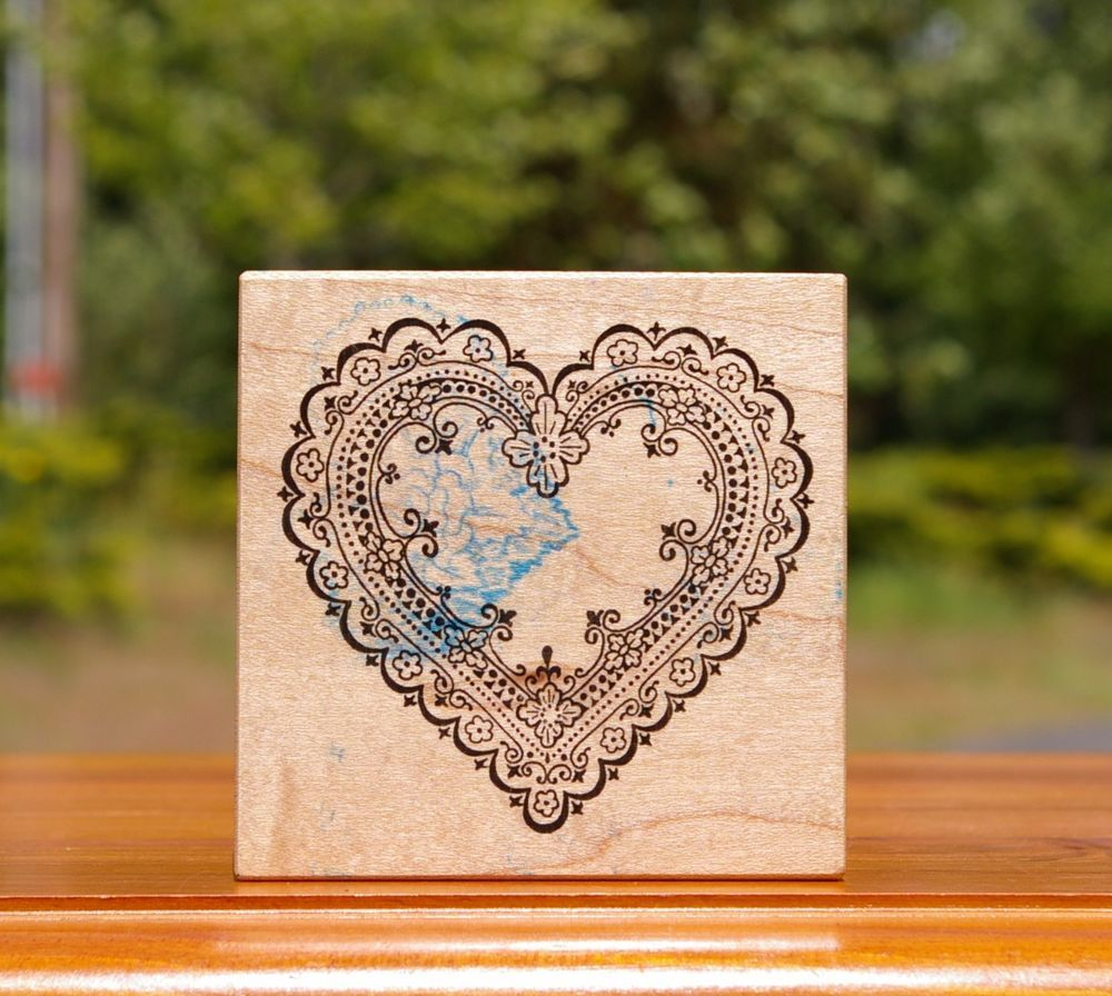 Heart Lace Flowers Wood Mounted Rubber Stamp by PSX # G-539 Valentine's Day  | eBay
