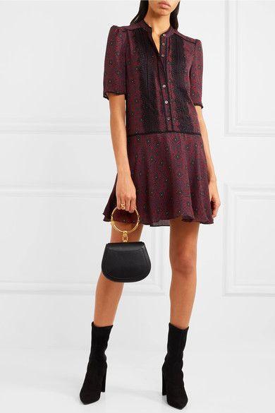 e279c1eeb5b Veronica Beard - Alana Lace-trimmed Printed Silk-chiffon Mini Dress -  Burgundy