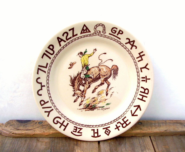 Vintage Wallace China Rodeo Plate 7 in Till Goodan Westward Ho 1940s Cowboy Dinnerware by OceansideCastle  sc 1 st  Pinterest & Vintage Wallace China Rodeo Plate 7 in Till Goodan Westward Ho 1940s ...