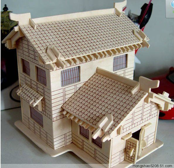 124 3D puzzle model miniature doll house34pcs Furniture play
