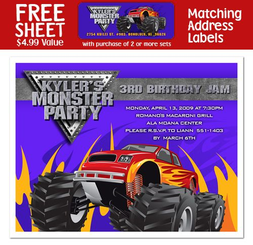 Monster Truck Custom Invitations Labels Thank You Notes