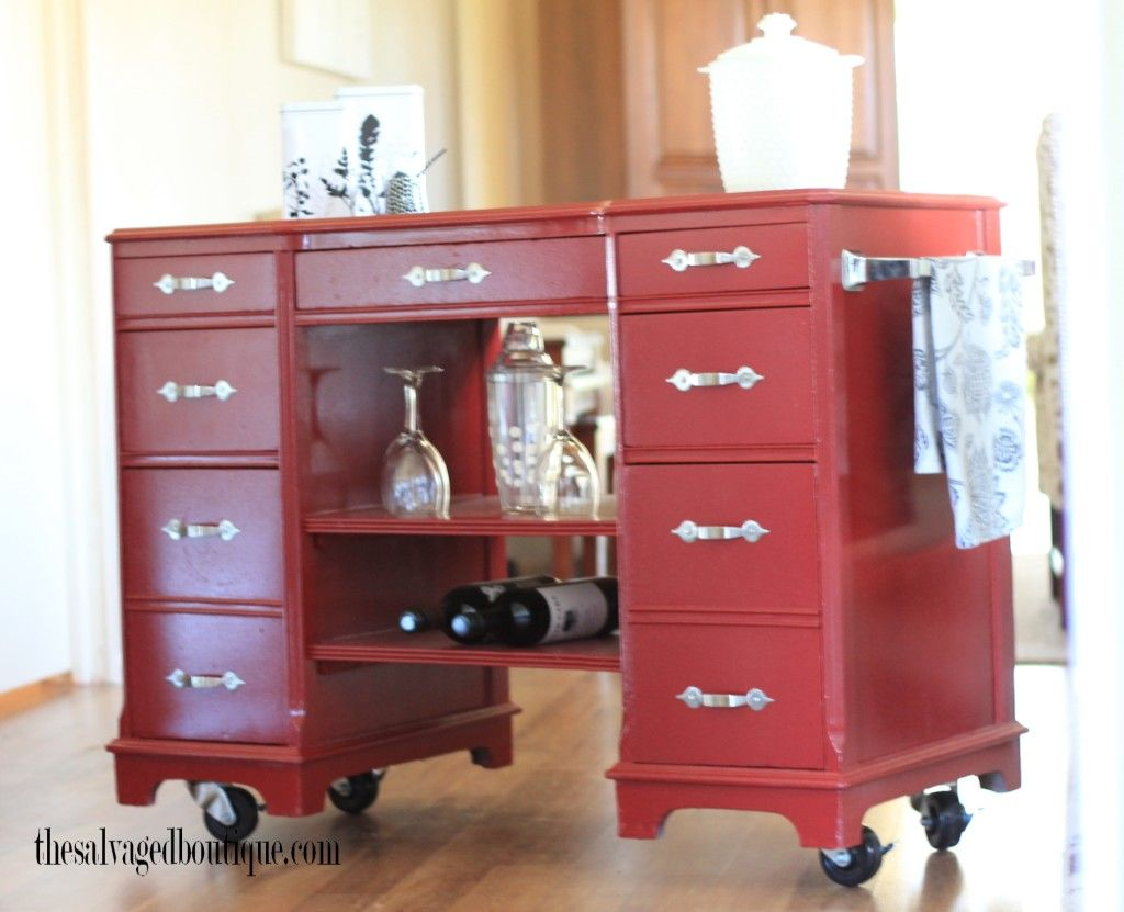 The Salvaged Boutique Takes A Vintage Desk And Upcycles It To Create A  Colonial Red Kitchen Island Bar Cart With Casters.